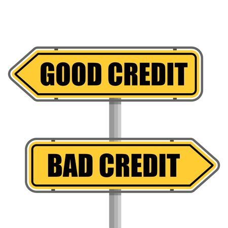 A road sign with bad credit good credit words sticker
