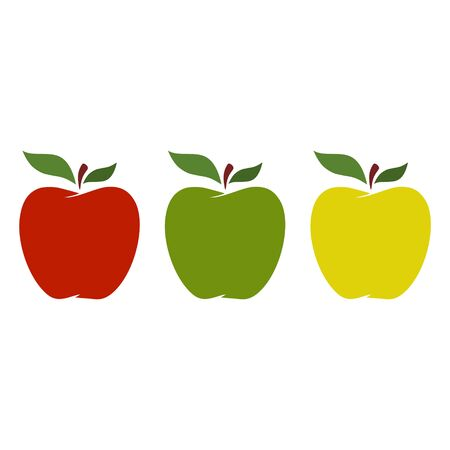 Set of red, yellow and green apples isolated on white background, sticker