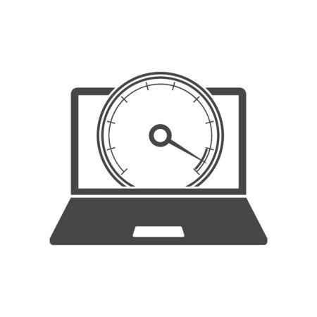 Laptop front view and internet speed icon Vektoros illusztráció