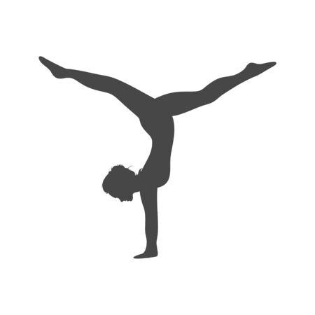 Silhouette of a gymnast woman, simple vector icon Векторная Иллюстрация