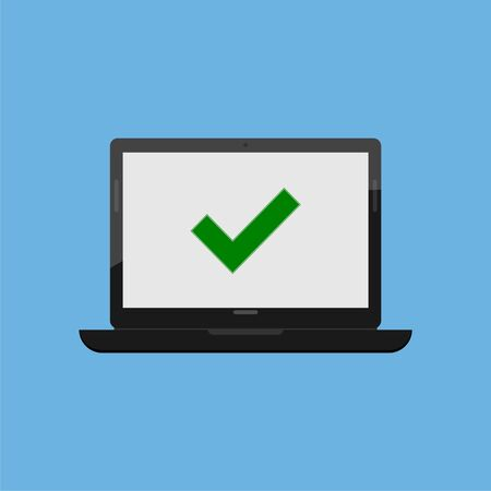 Laptop and check mark, simple vector icon