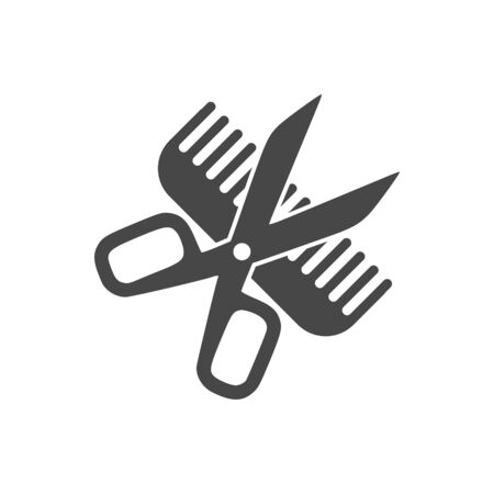 Comb and scissors icon