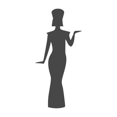 Egyptian silhouette icon, Queen Nefertiti, Cleopatra silhouette Ilustração