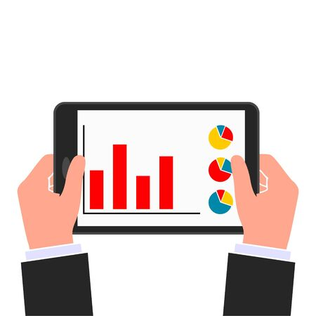 Businessman read financial analysis report with chart and graph, Hand holding tablet