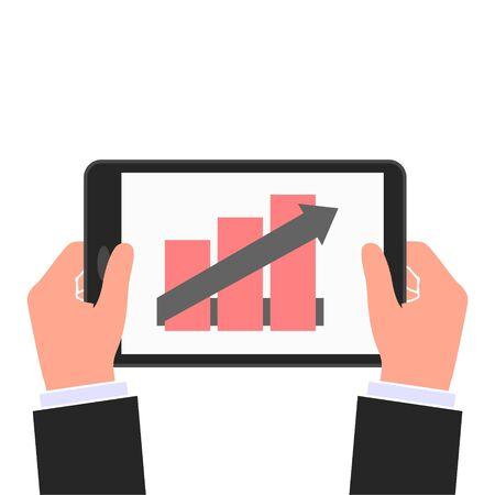 Businessman read financial analysis report with chart and graph, Hand holding tablet Vektoros illusztráció