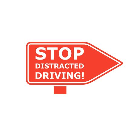 Stop Distracted Driving Sign Vectores