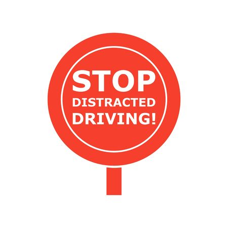 Stop Distracted Driving Sign Illustration