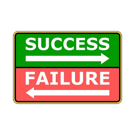 Success failure concept, road sign