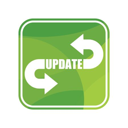 Green update square sign on white background