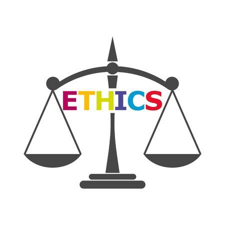 Ethics word, Ethics text, Ethics sticker Illustration
