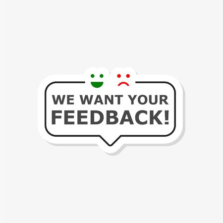 We want your feedback sign, We want your feedback sticker Çizim