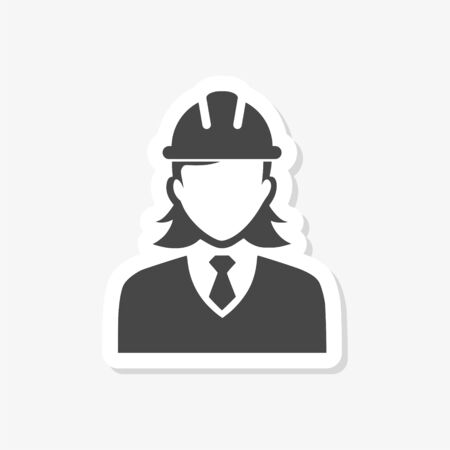 Woman Construction Worker sticker Vectores