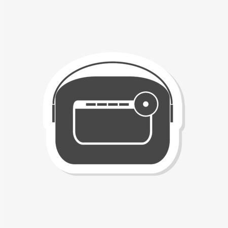 Antique radio on white background, Retro radio sticker