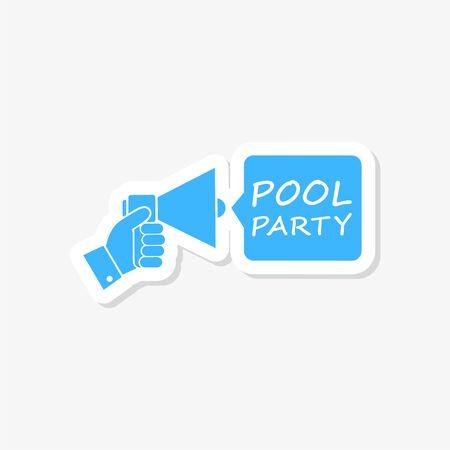 Pool party invitation sticker Illustration