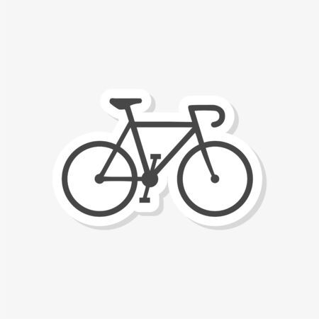 Bicycle fitness line art sticker, bike icon on white background
