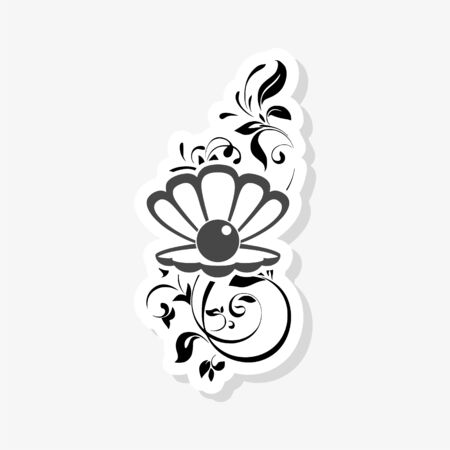 Sea Pearl in open shell, floral ornament sticker