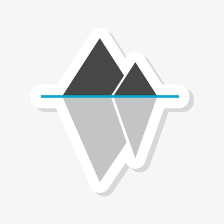 Iceberg floating in the ocean sticker, icon or logo