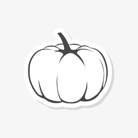 Pumpkin sticker or logo, Autumn Pumpkin Ilustração