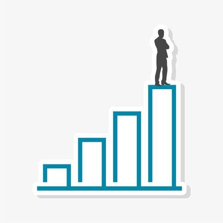 Businessman stands on top, Business concept sticker