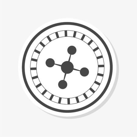 Casino roulette wheel flat sticker Ilustrace