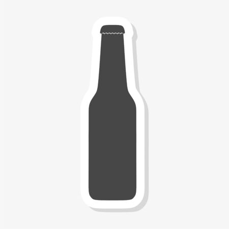 Beer bottle glass sticker isolated on white background