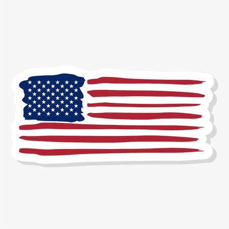 United States of America flag sticker 向量圖像
