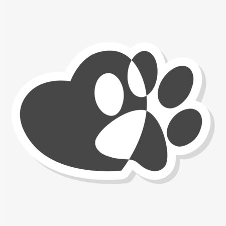 Silhouette of a paw print with a heart symbol sticker