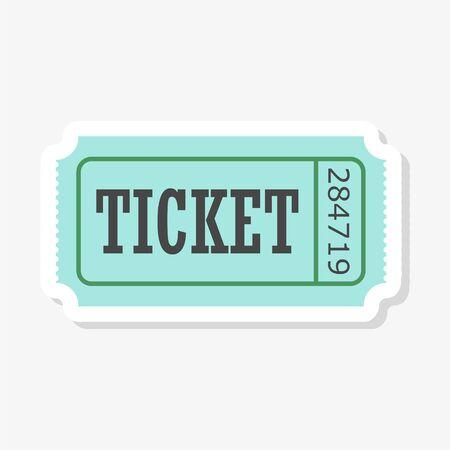 Cinema ticket sticker isolated on white background