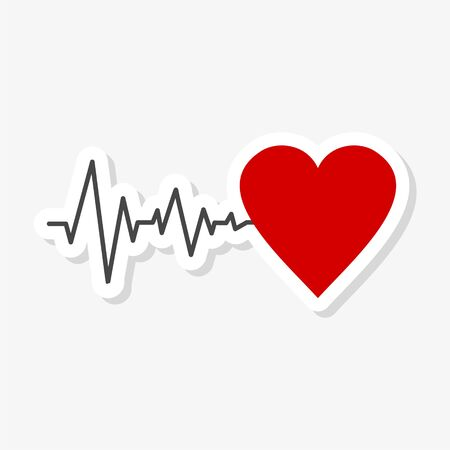 Pulse Life cardiogram heart sticker 向量圖像