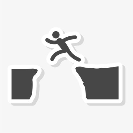 Silhouette of man jumping over mountains sticker