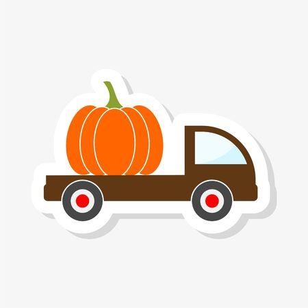 Old truck with harvest pumpkin sticker