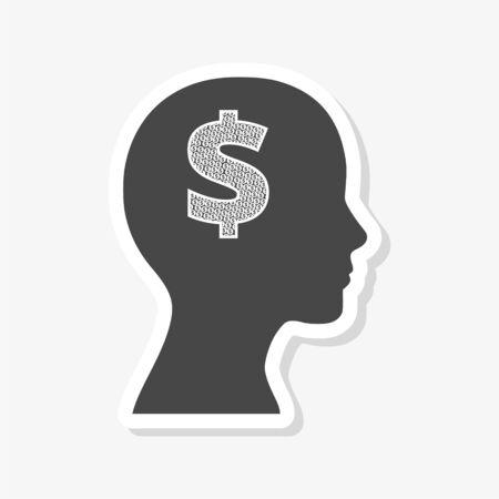 Mind concept graphic for money sticker