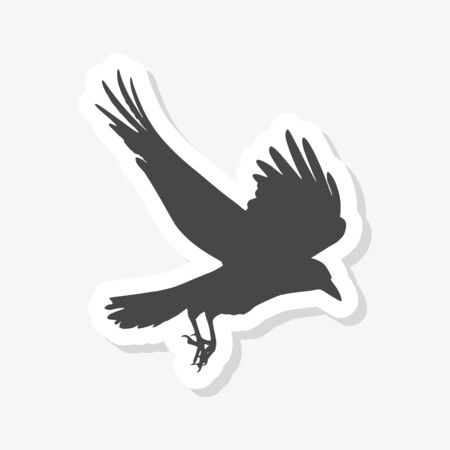 Silhouette of a flying crow isolated on white sticker 向量圖像