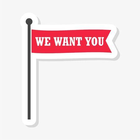 We want you flag sticker  illustration