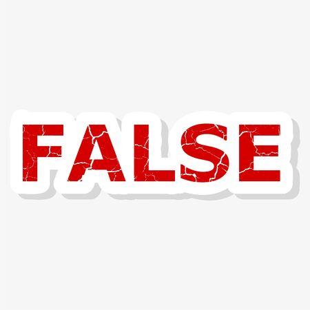 Red false sticker on white background