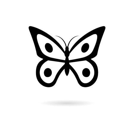 Black Butterfly isolated on white background Ilustração Vetorial