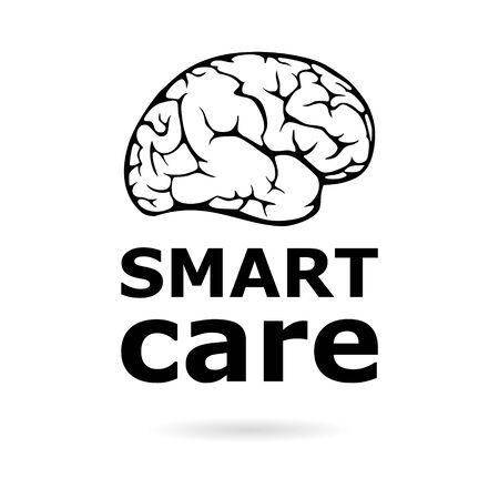 Black Smart care icon illustration, Anatomical design