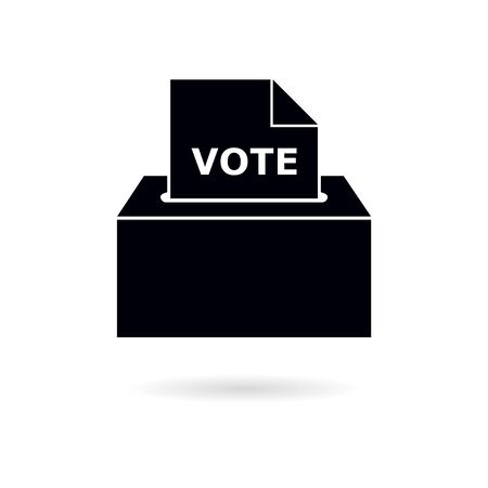 Black Voting box illustration with inserting paper sheet Ballot Box icon Vectores