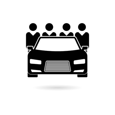 Black Car Sharing icon or Car sharing Symbol