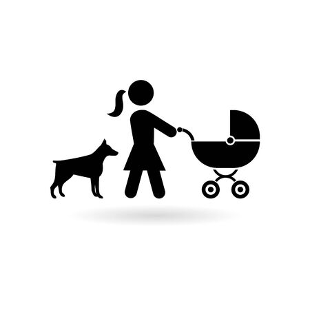 Black Mother with baby carriage walking with dog icon Vettoriali