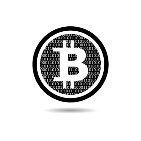 Black Bitcoin icon or logo. Physical bit coin. Digital currency