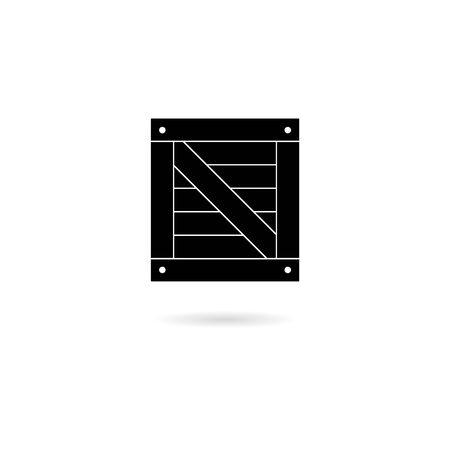 Black Wood box icon or logo, Simple illustration