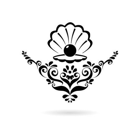 Black Sea Pearl in open shell, floral ornament icon.
