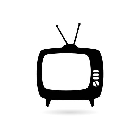 Black Old Television On Wood Table icon