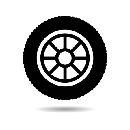 Black Car, vehicle or automobile tire icon or logo