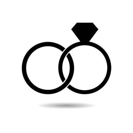 Black Wedding ring with diamond simple icon Vectores