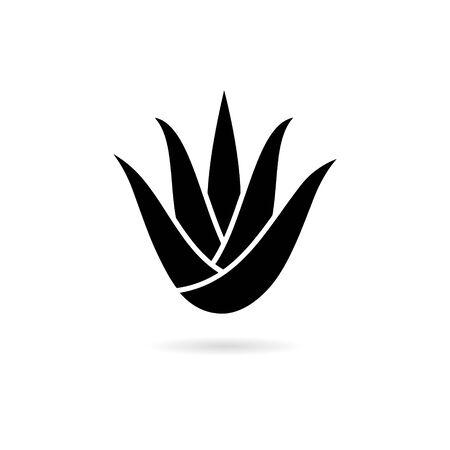 Black aloe vera plant with leaves icon