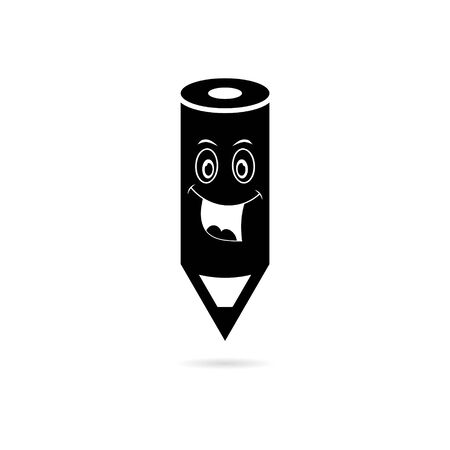 Black Wood Pencil icon, Smile face  , Back to school sign Çizim