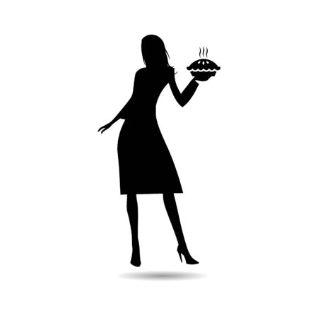 Black Housewife holding pie, woman holding a pie icon