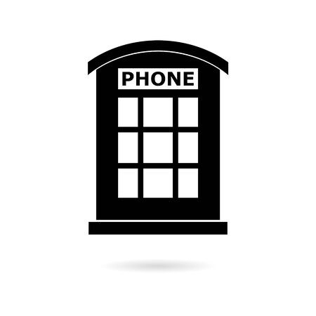 Black British Telephone Booth Isolated icon Illustration